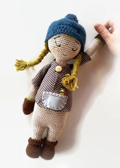 Amigurumi Doll, Crochet Doll, 16'' crochet soft toy, Stuffed toy,Cloth Doll, art doll Made in Italy