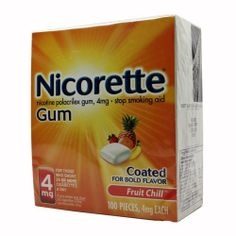 Nicorette Nicotine Polacrilex Gum, Fruit Chill, 4 mg, 100 Count Box by Nicorette. $29.69. Nicorette Nicotine Gum is bursting with cool fruit flavor, and designed for people who smoke 25 or more cigarettes a day. Each piece contains 94 milligrams of calcium and 13 milligrams of sodium.