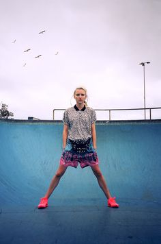 oystermag:    Beauty Daily March: Bondi Blues  Hair: KMS California Hair Play Makeover Spray Make-up: MAC Prep and Prime Beauty Balm Ollie wears Topmantop and shorts, model's own custom bum bag, Nikeshoes  Hair by Luke Reynolds of Luke Reynolds Hairdressing for KMS California