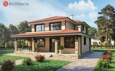 moreinlifel - 0 results for home Stone House Plans, Modern House Floor Plans, Modern Bungalow House, Rustic Houses Exterior, Dream House Exterior, Flat Roof House, Facade House, Style At Home, House Construction Plan