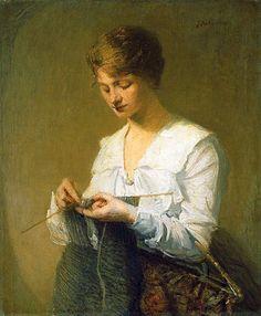 Knitting For Soldiers - Julian Alden Weir (1852 – 1919)