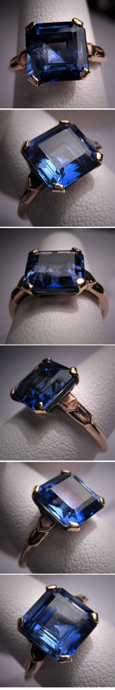 Antique Sapphire Wedding Ring Vintage Art by AawsombleiJewelry, $985.00