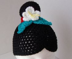 Mulan inspired crochet hat/wig black hair with bun and white flower, red band…