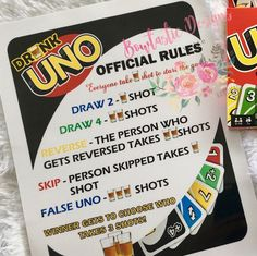 This isn't your typical drinking game – it's the Drunk UNO Game! The game starts with everyone taking a shot, because you have to pregame the game, of course. Uno Drinking Game, Drinking Board Games, Drinking Games For Parties, Alcohol Bottle Decorations, Drunk Games, Alcohol Games, Uno Cards, Teen Party Games, Classic Board Games