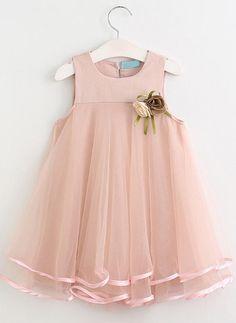 12028dc22 Mädchen Rundhals Festkörper Niedlich Kleid (1009224864) - Mädchenkleider -  veryvoga Princess Dress Kids,