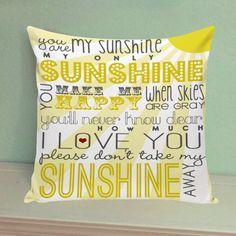 You Are My Sunshine Pillow Case Cover Hello Sunshine Pillowcase 16x16/18x18 inch #Handmade