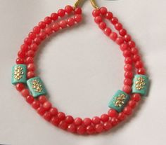 Multilayer Coral Colored Onyx Necklace /Gemstone by ArmCandyForYou, $55.00