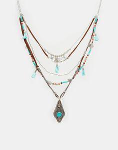 Image 1 ofASOS Multirow Bead And Charm Necklace