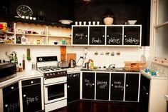 Chalkboard paint is easily identified as one of the most popular design trends these days. Almost any flat surface can be coated in chalkboard paint - the perfect blank canvas for messages, artwork, grocery lists and more. You can buy several different br Chalkboard Paint Projects, Chalkboard Decor, Blackboard Paint, Kitchen Chalkboard, Chalk Paint, Chalkboard Walls, Magnetic Paint, Chalkboard Designs, Kitchen Paint
