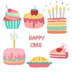 Exclusive Photo of Cute Birthday Cake - Birthday Cake Flower Ideen Cartoon Birthday Cake, Birthday Cake Pictures, Birthday Cakes For Teens, Cute Birthday Cakes, Happy Birthday, Cake Clipart, Cake Vector, Vector Art, Doodle Cake