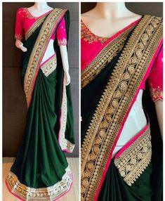 Paper silk saree, black saree, saree for women, banglori cotton blouse,designer … Purple Saree, Green Saree, Blue Lehenga, Yellow Saree, Saree Blouse Patterns, Saree Blouse Designs, Dress Designs, Black Saree Designs, Indian Sarees