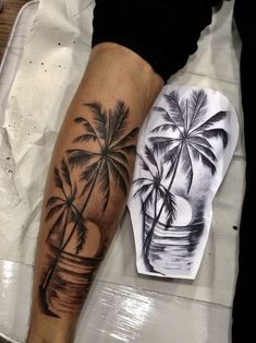 30 palm tree tattoos for summer vacation - Galena U. - 30 Palm Tree Tattoos For Summer Vacation - Tropisches Tattoo, Tree Sleeve Tattoo, Forarm Tattoos, Forearm Tattoo Men, Tattoo Tree, Arm Sleeve Tattoos, Mens Leg Tattoo, Tiger Tattoo Sleeve, Ankle Tattoo Men