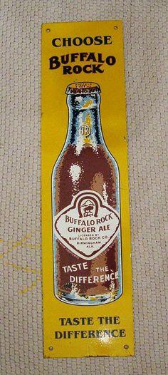 "Buffalo Rock Ginger Ale Antique Door Push (Old Vintage Soda Pop Beverage Advertising Store Metal Sign, ""Taste The Difference"")"