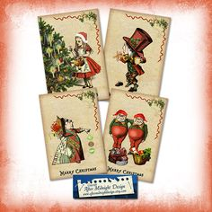 Alice in Wonderland Christmas Cards Tags by aftermidnightdesign