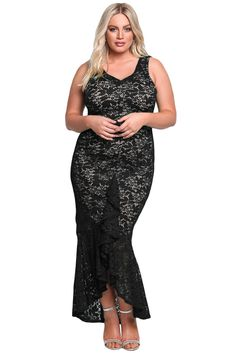 cf2c6bb229b Black Plus Size Floral Lace Ruffle Mermaid Maxi Gown