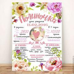 Купить Метрика детская постер - белый, метрика, Метрика для девочки, метрика на заказ, метрика детская