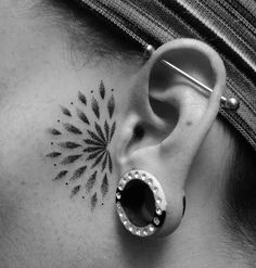Dotwork Ear Tattoo Idea