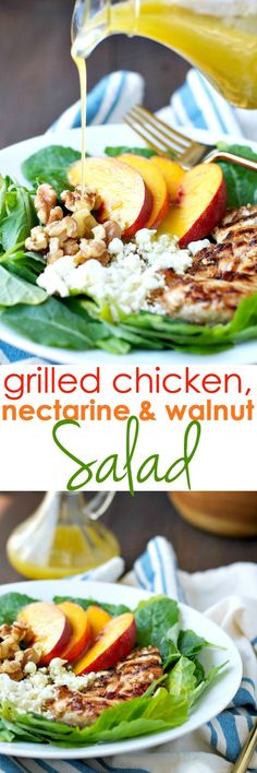 A simple and fast 10-minute salad is topped with Honey-Lime Marinated Grilled Chicken for a quick, cool, and healthy lunch or dinner. This Grilled Chicken, Nectarine and Walnut Salad is a forkful of summer in every bite!