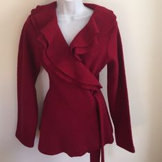 Beautiful red wool, ruffled wrap coat like new M Exquisite red  boiled wool, ruffled collar, wrap coat-size medium, perfect for the holidays!One hundred percent wool-worn exactly once! Perfect for the upcoming holiday season Jackets & Coats