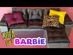 Como fazer sofá para Barbie, Monster High, Ever After High .  DIY sofa f...
