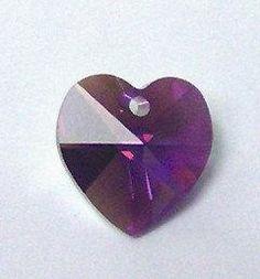 2 Swarovski 10mm HEART 6202 Pendant crystal beads AMETHYST AB