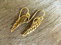 GOLD Vermeil Angel Wing Earrings, Guardian Angel Gift Ideas for Her, Friend . Guardian Angel Gifts, Angel Wing Earrings, Girls World, Women Jewelry, Unique Jewelry, Minimalist Jewelry, Valentine Day Gifts, Charms, Bead