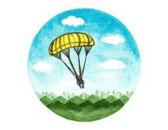 Original Watercolor painting Parachute paragliding by BluePalette