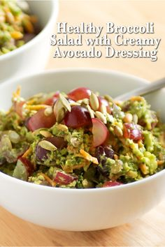 Healthy Broccoli Salad with Creamy Avocado Dressing -- Daniel Fast