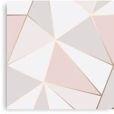 'Geometric pink gold' Canvas Print by Elyse-blais Millions of unique designs by independent artists. Find your thing. Gold Painted Walls, Gold Walls, Pink Walls, Rose Gold Wall Paint, Pink Gold Bedroom, Rose Gold Painting, Bedroom Wall Designs, Bedroom Decor, Paint Designs For Walls
