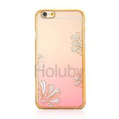 Crescent Moon Pattern Diamond Studded Electroplated Gradient PC Hard Case for iPhone 6 6S Gold+ Pink