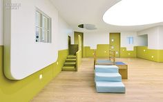 Kids Activity, Hong Kong Kids Children Learning Center Playroom Design: SPRING Early Childhood Learning Center with Adult and Children Shared Spaces Architecture Concept Kindergarten Interior, Kindergarten Design, Learning Spaces, Learning Centers, Design Maternelle, Id Design, House Design, Decoration Entree, Houses