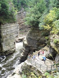 An overlook for visitors at prehistoric Ausable Chasm, N.Y.