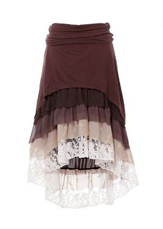 Hi Lo Brown tiered ruffle layered Skirt Shannasthreads.com