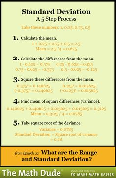 Math Dude What are the Range and Standard Deviation?What are the Range and Standard Deviation? Calculus, Algebra, Statistics Help, Statistics Cheat Sheet, Statistics Humor, Gre Prep, Standard Deviation, Math Help, Learn Math