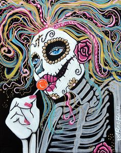 "Day of the Dead Art by Laura Barbosa Original OSWOA 8x10 Painting ""Sugar Skull Lollipop"" *An Affordable Collectible*"