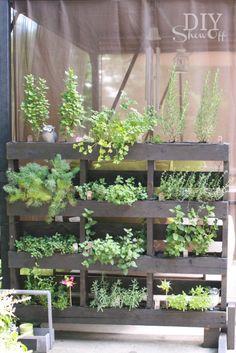 free standing pallet herb garden - LOVE this