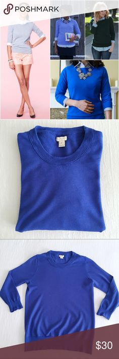 j.crew charley sweater in cobalt blue The sweater you'll wear with almost everything. It's soft, flattering and layers well - so you can totally justify buying several. Semifitted, 100% merino wool, 3/4 sleeves. Charley is the Factory version of the Tippi. No flaws to note, in gently worn condition. J. Crew Sweaters Crew & Scoop Necks
