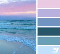 Ideas For Bedroom Blue Sea Design Seeds Beach Color Schemes, Beach Color Palettes, Sunset Color Palette, Sunset Colors, Colour Pallette, Bedroom Color Schemes, January Colors, Color Palette Challenge, Sea Colour