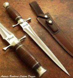 Antonio Banderas RARE HAND MADE CUSTOM ART TOOTH PICK DAGGER KNIFE, LEATHER