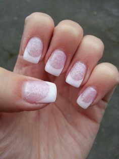 white french glitter birthday nails