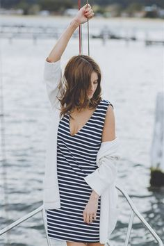AHOY DRESS -  We just can't get enough of stripes, it's in the way they elevate any outfit from plain to punchy. The Ahoy V Neck Dress is every woman's loyal companion. It'll take you from the streets of Paris to Bondi Beach with as little as a shoe change.  bohemiantraders.com