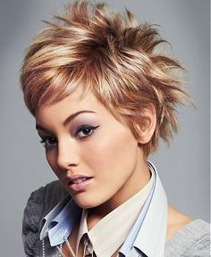 A Short Blonde straight spikey coloured multi-tonal womens haircut hairstyle by L'Oreal