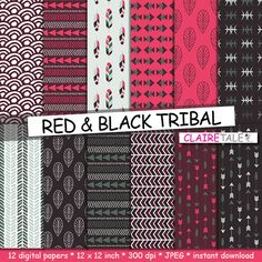 "Buy Tribal digital paper: ""RED & BLACK TRIBAL"" with tribal patterns and tribal backgrounds, arrows, feathers, leaves, chevrons in red and black by clairetale. Explore more products on http://clairetale.etsy.com"