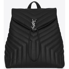 Saint Laurent Medium loulou MONOGRAM SAINT LAURENT Backpack in Black ($1,675) ❤ liked on Polyvore featuring bags, backpacks, drawstring bag, draw string backpack, backpack bags, pocket bag and knapsack bag