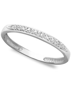 14k White, Yellow, or Rose Gold Ring, Pave Diamond Accent Band - Rings - Jewelry & Watches - Macy's