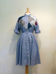 Vintage Chambray Patchwork Dress Flag Dress, Shirt Dress, 1980s Dresses, Shirtwaist Dress, Full Circle Skirts, Patchwork Dress, Diy Clothing, Chambray, Gingham