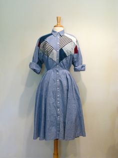 Vintage Chambray Patchwork Dress