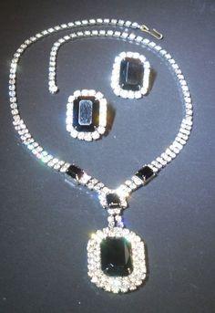 Vintage EISENBERG Jazzy Jet Black & Radiant Rhinestone Necklace