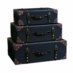 """Set of Three Decorative Storage Suitcase Trunks by bombayjewel. $159.00. Attractive Style. Wood/Leatherette Material. Ample Storage Space. Set of Three 24"""",21"""",18""""W. These wooden trunks work well as an attractive item in any room of your place. They are not only an ideal storage options but are also perfect to enhance your overall home decor."""