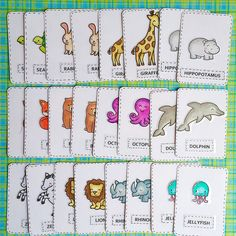Lawn Fawn - Critters in the Sea, Critters on the Savanna, Into the Woods, Happy Easter, So Jelly, Love You S'more, Year Four _ Awesome memory matching game cards by Susan (SuMo60) via Flickr